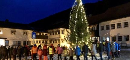 Julegrantenning på Hol kommunehus